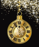 Golden Christmas clock, vector illustration