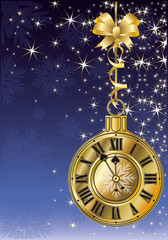 New Year golden clock, vector illustration