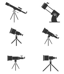 Set of six simple, black telescopes icons