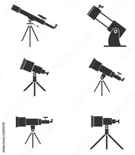 Fototapeta Set of six simple, black telescopes icons