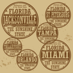 Grunge rubber stamp set with names of Florida cities