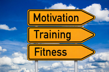 Wegweiser mit Motivation, Training, Fitness