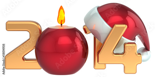 Happy New Year 2014 Santa hat Christmas candle decoration