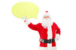 Smiling Santa Claus holding a speech bubble