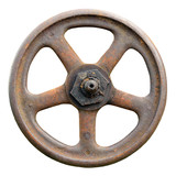 Industrial Valve Wheel Stem Weathered Grunge Latch Closeup