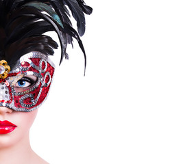 Beautiful girl in red carnival mask