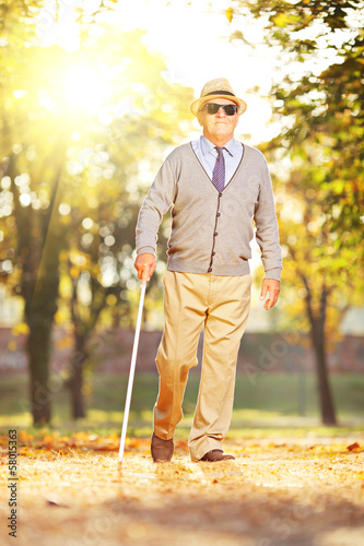 Blind mature man holding a stick and walking in a park