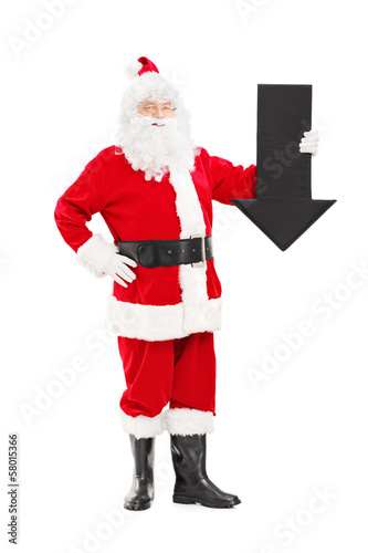 Smiling Santa Claus holding an arrow pointing down