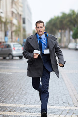 journalist running on urban street
