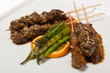 Marbled beef shish kebabs on skewers