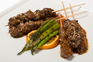 Marbled beef shish kebabs on skewers