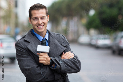 professional news reporter portrait in the city