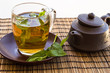 Green tea and leaves of mint in a glass cup
