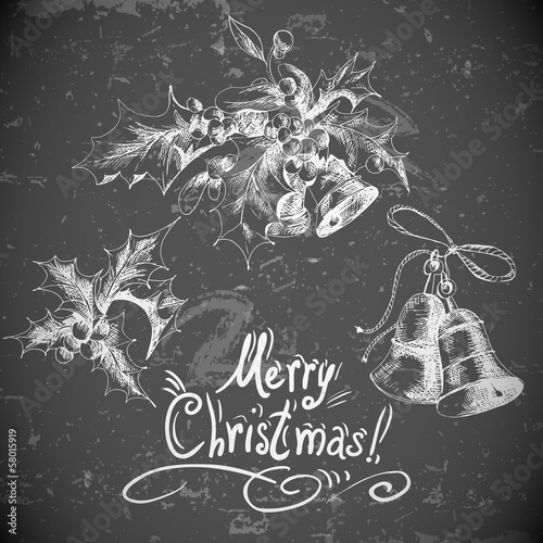 Vector set vintage Christmas design elements