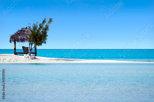 Landscape of  Arutanga island in Aitutaki Lagoon Cook Islands