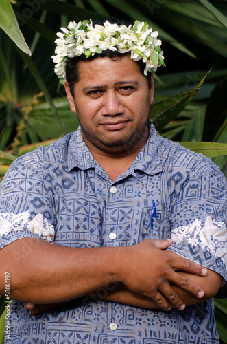 Portrait of Polynesian Pacific Island Tahitian mature man Aituta
