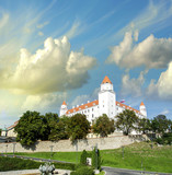 Bratislava, Slovakia. City Castle surrounded by walls and vegeta