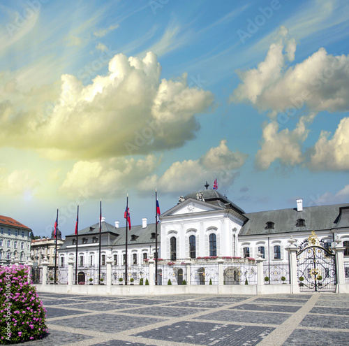Beautiful ancient building and square of Bratislava, Slovakia