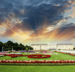 Leinwanddruck Bild - Wonderful gardens of Schonbrunn Castle in Vienna. Summer colors