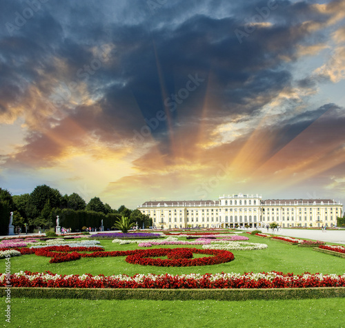 Wonderful gardens of Schonbrunn Castle in Vienna. Summer colors