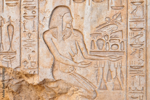 Bas relief in Medinet Habu temple, Luxor, Egypt