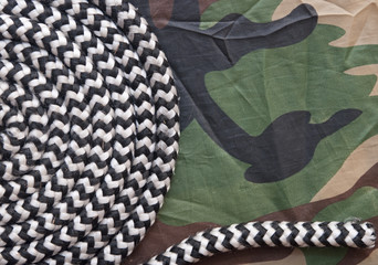 rope roll on military camouflage background