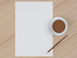 Coffee cup with paper on table