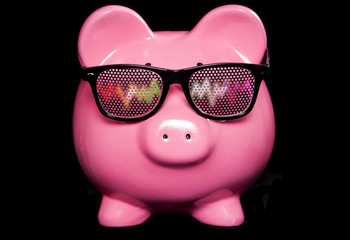 Piggy bank wearing raving glasses