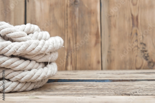 ship ropes on wood background textur