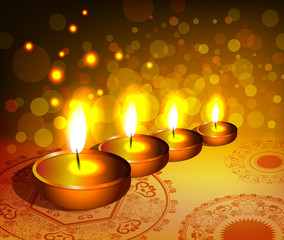 religious background for diwali festival with lamps