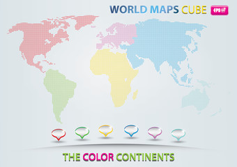 World map with cube