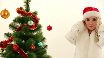 Woman dressed as Santa on New Year's costume party