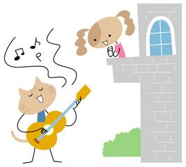 ギターを弾く猫とそれを聞く犬の女の子