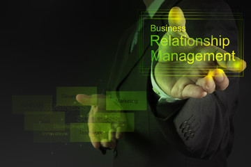 Businessman hand show business relationship management on the ne