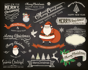 Christmas Design Elements and Greetings on Chalkboard