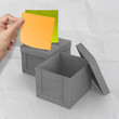 blank sticky notes on crumpled sticky note paper as concept