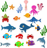 Funny Sea life cartoon set