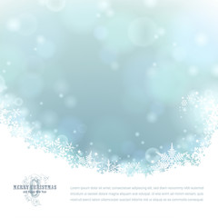 bright winter background with snowflakes