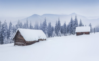 Old farm in the Carpathian mountains. Foggy winter morning.