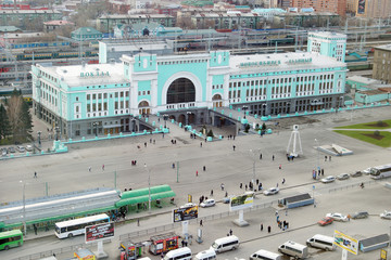 Railway station in Novosibirsk city, Siberia, Russia
