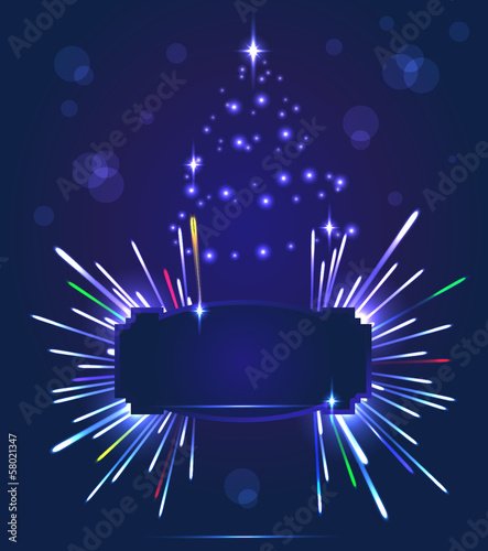 Salute and New Year tree- vector isolated on  dark blue  backgro