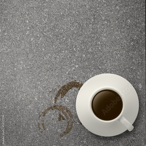 cup of coffee 3d  on stone top as concept