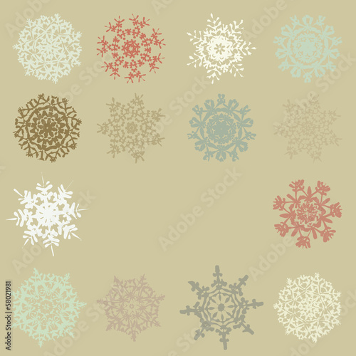 Cute Retro Snowflakes. EPS 10