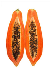 Halve Papaya on White Background