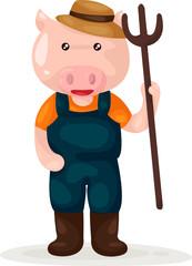 cartoon pig farmer