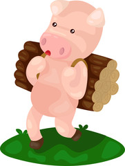 cartoon pig carry firewood