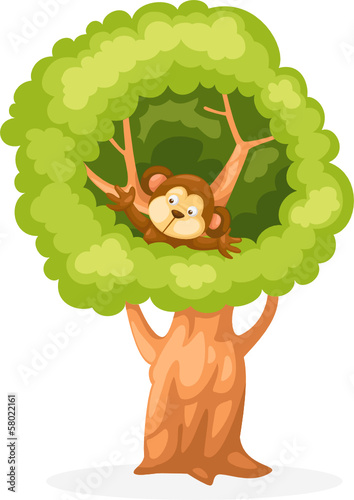 cartoon monkey on the tree