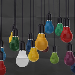 sticky note with   light bulb on crumpled paper as creative conc