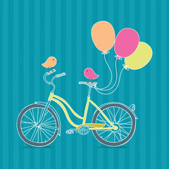 Bicycle, balloons and birds illustration