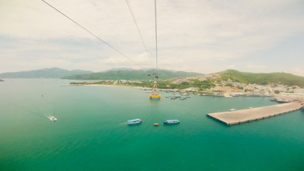 Time Lapse. View from a moving cable car, Vinpearl, Vietnam.